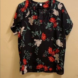 Black blouse with floral print